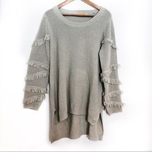 One A Olive Plus Size Hi Low Fringe Sleeve Sweater